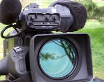 Professional  video camera. Professional digital video camera.Plan to shoot outdoors Royalty Free Stock Images