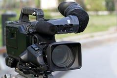 Professional video camera. Professional digital video camera.Plan to shoot outdoors Stock Image