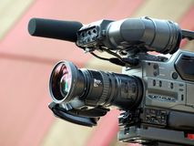 Professional Video Camera with Attached Microphone Royalty Free Stock Images