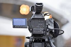 Professional Video Camera. Back view Stock Images