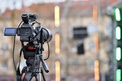 Professional Video Camera. Back view Royalty Free Stock Photo
