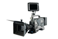 Professional Video Camera with monitor facing to. You, Isolated on white Stock Photography