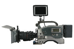 Professional Video Camera with monitor facing to. You, Isolated on white Royalty Free Stock Image