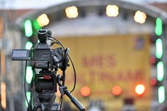 Professional Video Camera. Back view Royalty Free Stock Image