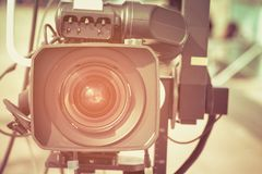Professional video camera. Selective focus Royalty Free Stock Photo