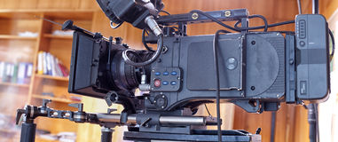 A professional video camera. Camera for shooting feature films and television series Stock Photos
