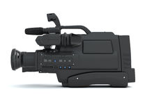 Professional video camera side view Royalty Free Stock Photos