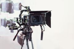 Professional video camera on the tripod. Television Royalty Free Stock Image