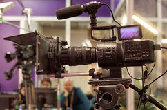 A professional video camera. Royalty Free Stock Photo