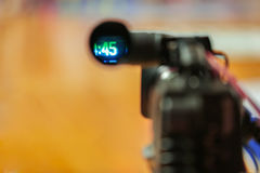Professional video camera viewfinder recording. Professional video camera recording the basketball game Stock Images