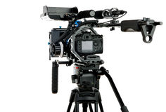 Professional video camera. On the white background Stock Images