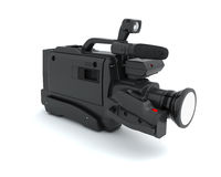 Professional video camera on a white Royalty Free Stock Image