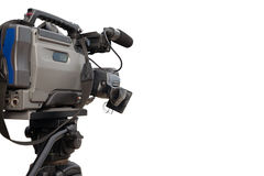 Professional video camera in the working position Royalty Free Stock Photos