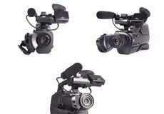 Professional videokamera på en vit bakgrund Royaltyfri Foto