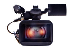 Professional videokamera på en vit bakgrund Fotografering för Bildbyråer