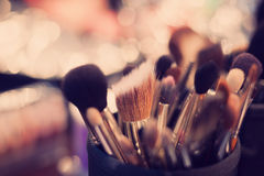 Professional visagiste brushes for make up Royalty Free Stock Photo