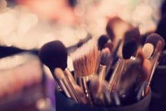 Professional visagiste brushes for make up Royalty Free Stock Photo