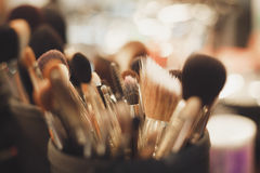 Professional visagiste brushes for make up Royalty Free Stock Image