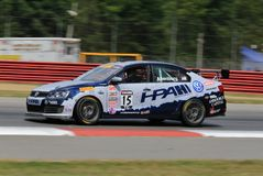Professional Volkswagon Jetta GLI race car on the course Stock Images