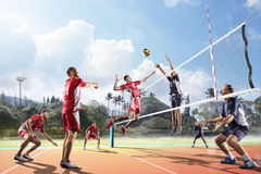 Professional volleyball players in action on the court Royalty Free Stock Photography