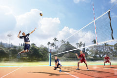 Professional volleyball players in action on the court. Professional volleyball players in action on the open air court Royalty Free Stock Images