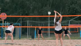 Professional volleyball serve woman on the beach tournament. Volleyball net the player blocks the view when applying stock video footage