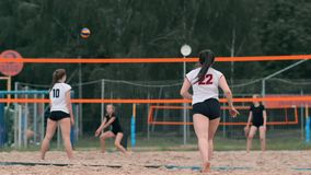 Professional volleyball serve woman on the beach tournament. Volleyball net the player blocks the view when applying stock video