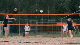 Professional volleyball serve woman on the beach tournament. Volleyball net the player blocks the view when applying.  stock video footage