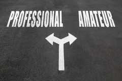 Professional vs amateur choice concept Royalty Free Stock Photography