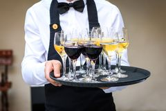 Professional waiter in black uniform serving red and white wine. Royalty Free Stock Images