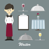 professional waiter. Male waiter in uniform Royalty Free Stock Photography
