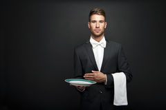 Professional waiter man Royalty Free Stock Image