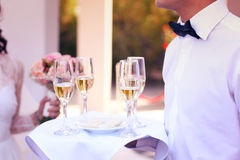 Professional waiter. In uniform is serving champagne Stock Images
