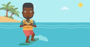 Professional wakeboard sportsman. An african-american sportsman wakeboarding on the sea. Wakeboarder making tricks. Man studying wakeboarding. Man riding Stock Photo