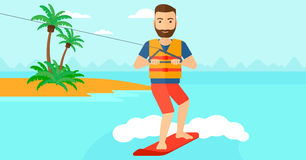 Professional wakeboard sportsman. A hipster man with the beard wakeboarding on the sea with a small island on a background vector flat design illustration Stock Photo