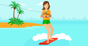 Professional wakeboard sportswoman. A woman wakeboarding on the sea with a small island on a background vector flat design illustration. Horizontal layout Royalty Free Stock Images