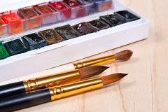 Professional watercolor paints in box with brushes. Close up view of the professional aquarelle paints in box with brushes on the wooden background royalty free stock photos