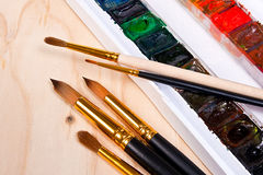 Professional watercolor paints in box with brushes. Royalty Free Stock Photography