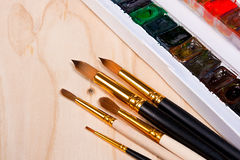 Professional watercolor paints in box with brushes. Stock Photo