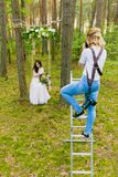 Professional wedding photographer using stepladder to make pictures of the bride royalty free stock images