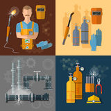Professional welder gas welding tools and equipment set. Professional welder gas welding tools and equipment vector set Stock Photo
