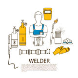 Professional welder welding tools and equipment silhouette Stock Photos