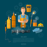 Professional welder, welding tools and equipment. Professional welder welding tools and equipment vector illustration Stock Photo