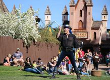 Professional Whip Cracker at the Renaissance Fair. A professional whip cracker shows off some cool moves  at the Renaissance Fair, AZ, Spring 2016 Stock Images