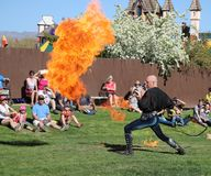 Professional Whip Cracker at the Renaissance Fair Royalty Free Stock Photos