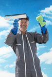 Professional window cleaner Stock Image