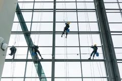 Professional window cleaners climbing up facade. On ropes Royalty Free Stock Image