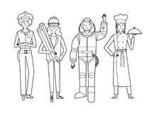 Professional woman_B&W. Professional woman. Woman COP, girl chef, as well as woman astronaut and architect. Vector illustration Royalty Free Stock Photography