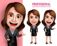 Professional Woman Character with Business Outfit Happy Smiling Royalty Free Stock Images