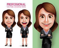 Professional Woman Character with Business Outfit Happy Smiling Royalty Free Stock Photography